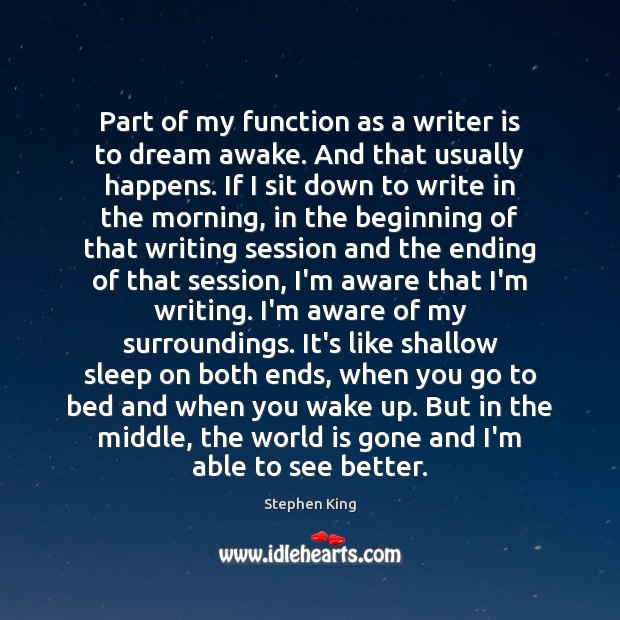 Part of my function as a writer is to dream awake. And Image
