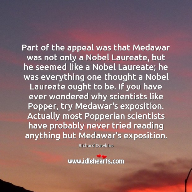 Part of the appeal was that Medawar was not only a Nobel Image