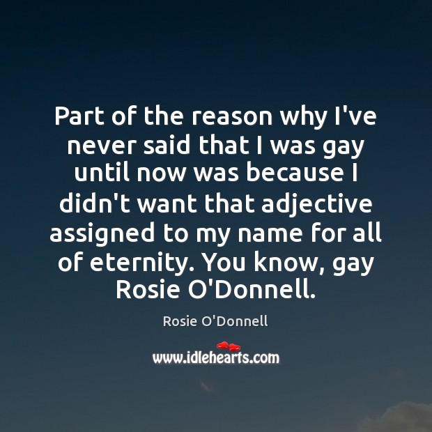 Part of the reason why I've never said that I was gay Image