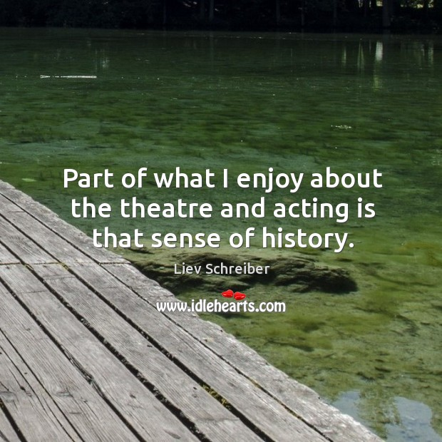 Part of what I enjoy about the theatre and acting is that sense of history. Liev Schreiber Picture Quote