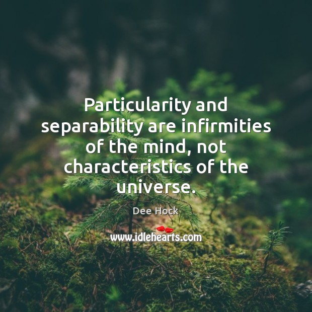 Particularity and separability are infirmities of the mind, not characteristics of the Image