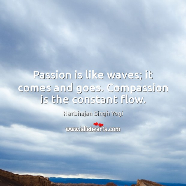 Passion is like waves; it comes and goes. Compassion is the constant flow. Image