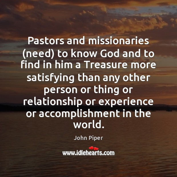 Image, Pastors and missionaries (need) to know God and to find in him
