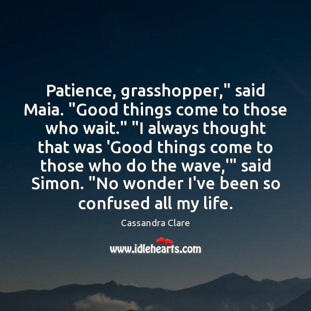 "Patience, grasshopper,"" said Maia. ""Good things come to those who wait."" ""I Image"