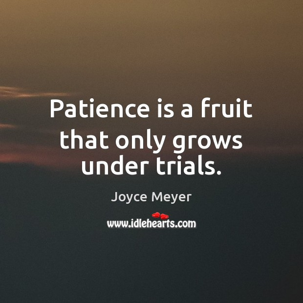 Patience is a fruit that only grows under trials. Patience Quotes Image