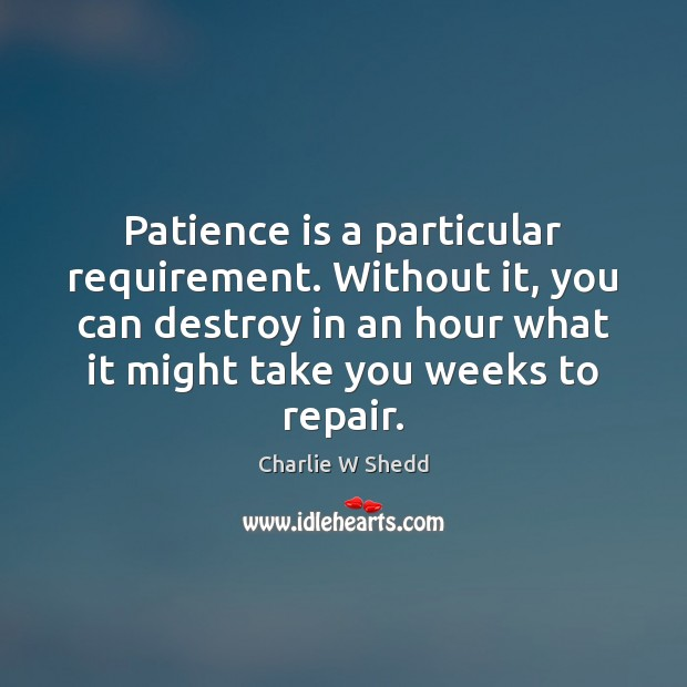 Patience is a particular requirement. Without it, you can destroy in an Patience Quotes Image