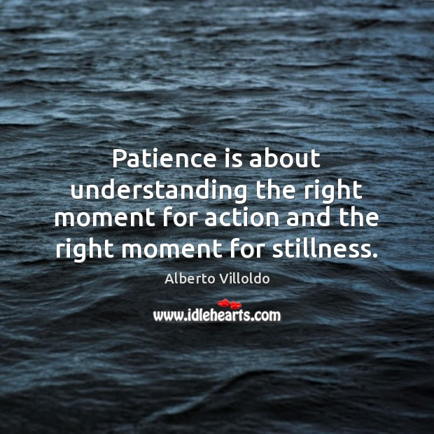 Patience is about understanding the right moment for action and the right Patience Quotes Image