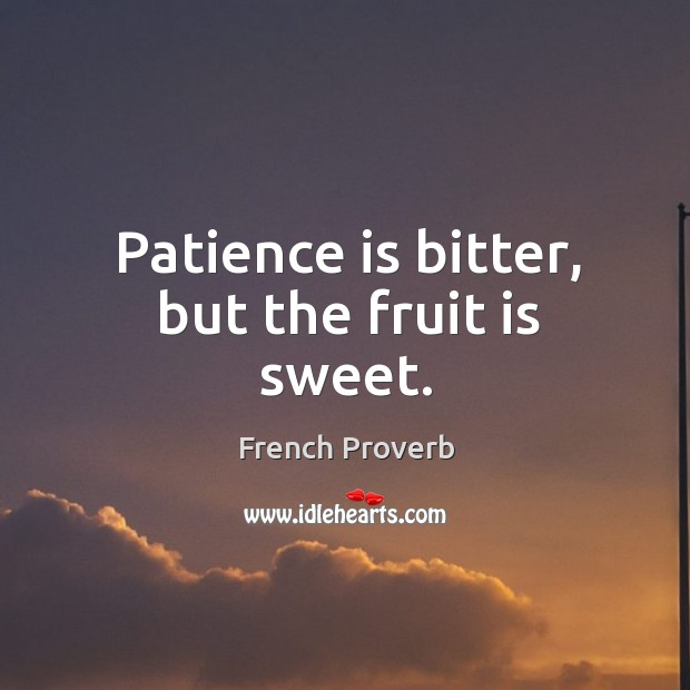 Patience is bitter, but the fruit is sweet. Image