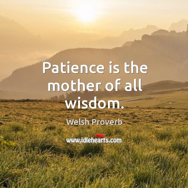 Patience is the mother of all wisdom. Welsh Proverbs Image