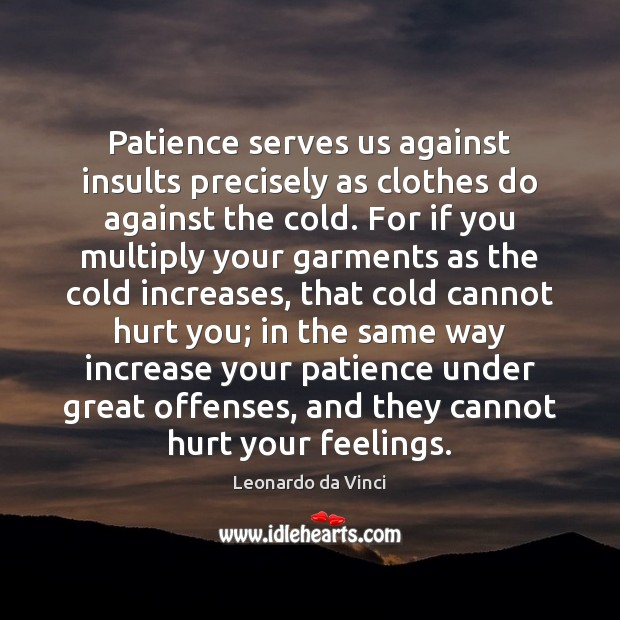Patience serves us against insults precisely as clothes do against the cold. Image