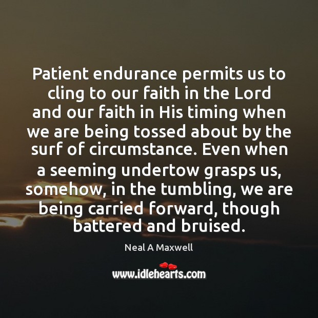 Patient endurance permits us to cling to our faith in the Lord Neal A Maxwell Picture Quote