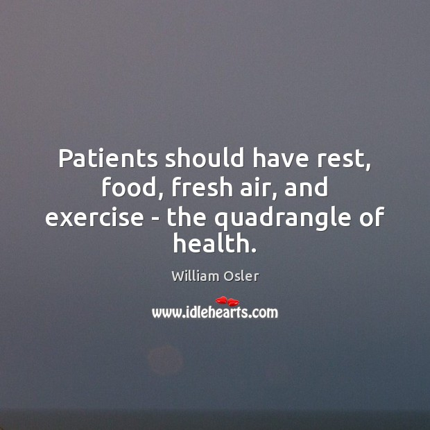 Image, Patients should have rest, food, fresh air, and exercise – the quadrangle of health.