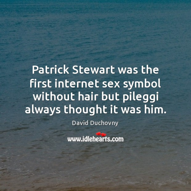 Patrick Stewart was the first internet sex symbol without hair but pileggi David Duchovny Picture Quote