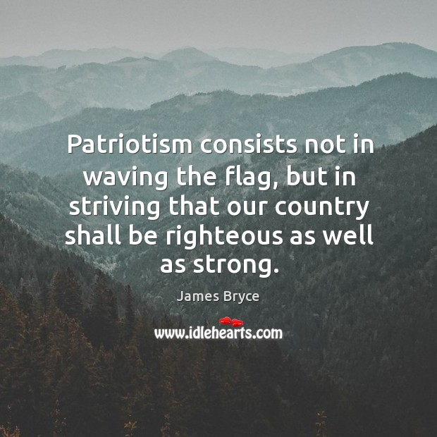 Image, Patriotism consists not in waving the flag, but in striving that our country shall be righteous as well as strong.