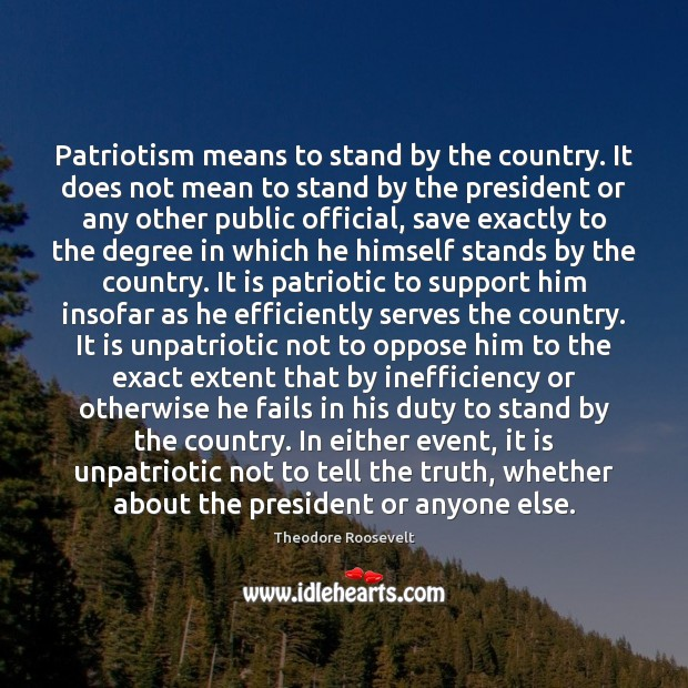 Patriotism means to stand by the country. It does not mean to Theodore Roosevelt Picture Quote