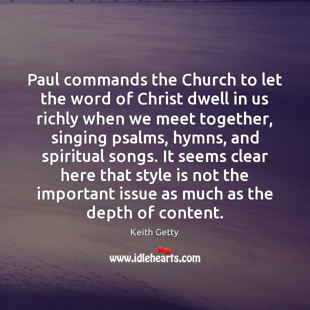 Paul commands the Church to let the word of Christ dwell in Image