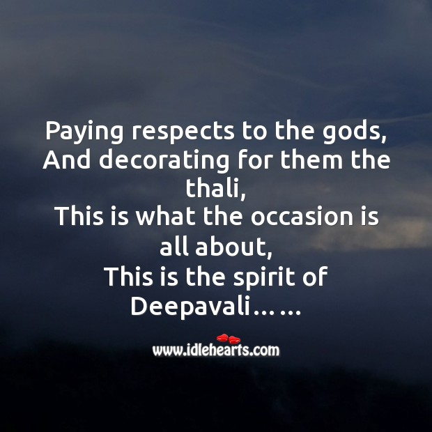Paying respects to the Gods Diwali Messages Image