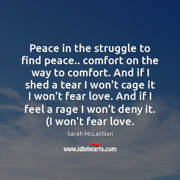 Peace in the struggle to find peace.. comfort on the way to Image