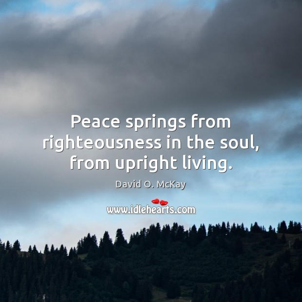 Peace springs from righteousness in the soul, from upright living. David O. McKay Picture Quote