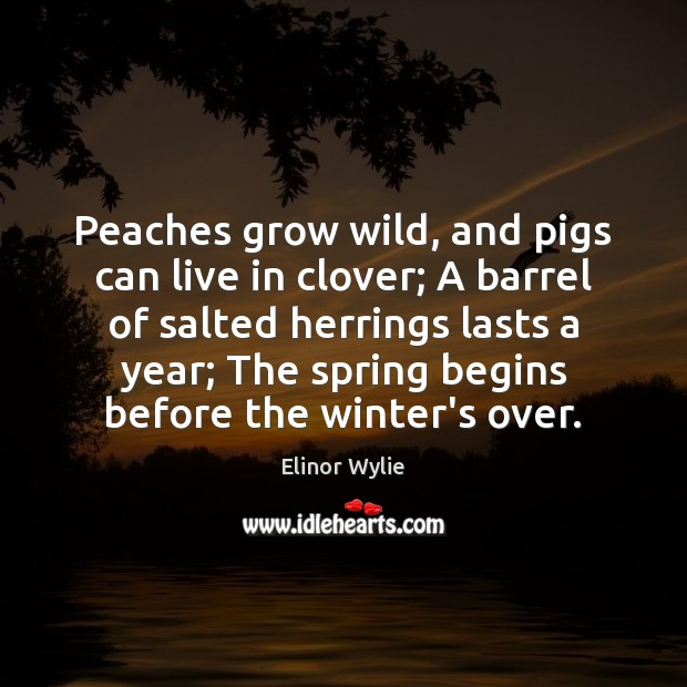 Peaches grow wild, and pigs can live in clover; A barrel of Winter Quotes Image