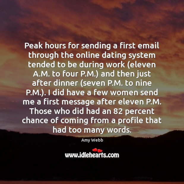 Image, Peak hours for sending a first email through the online dating system
