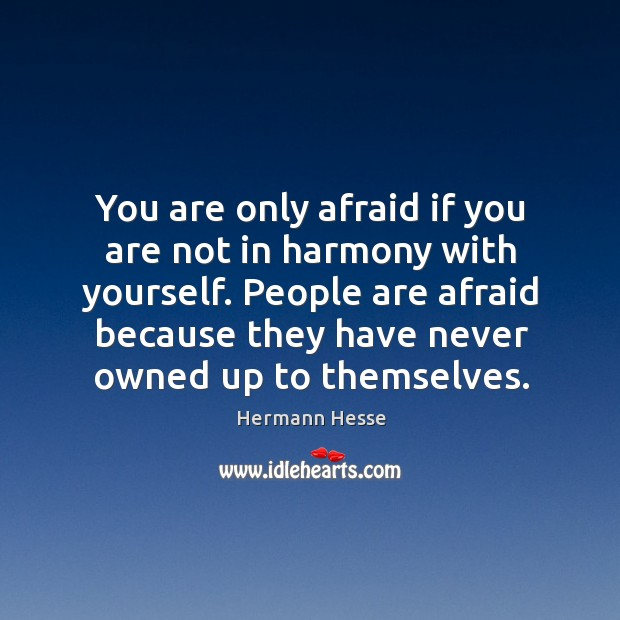 Image, People are afraid because they have never owned up to themselves.