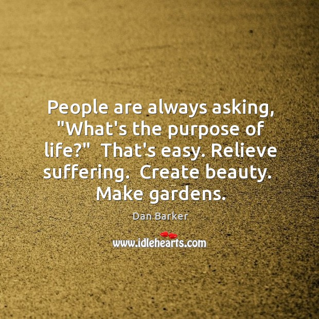 """People are always asking, """"What's the purpose of life?""""  That's easy. Relieve Image"""
