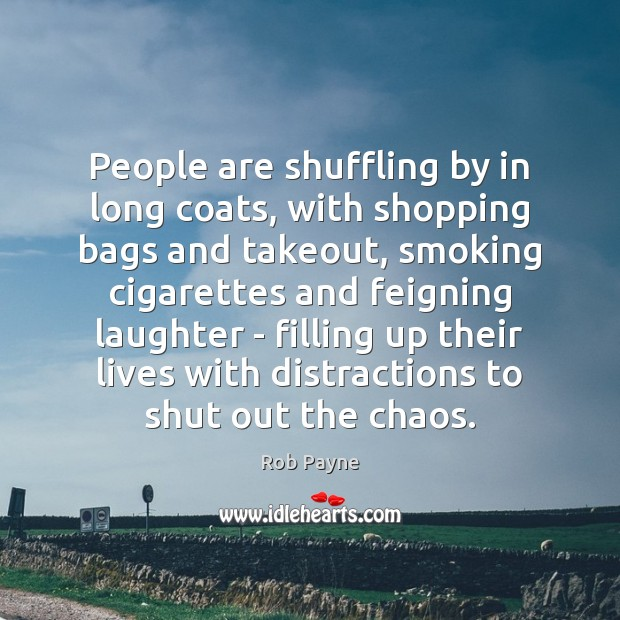 Image, People are shuffling by in long coats, with shopping bags and takeout,