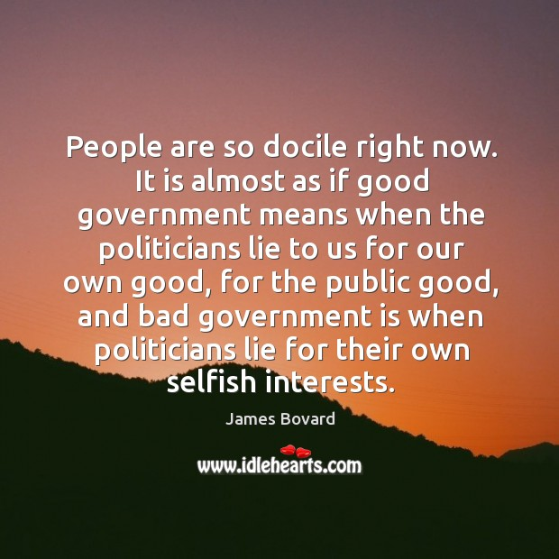 People are so docile right now. It is almost as if good government means when the politicians Image