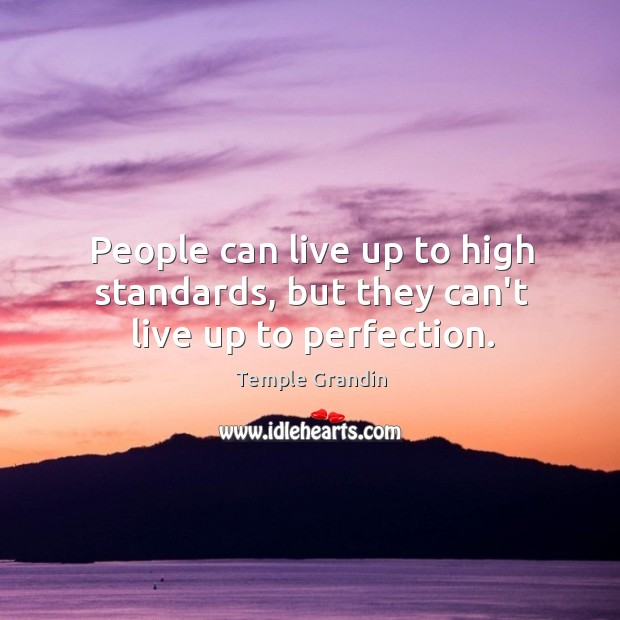 People can live up to high standards, but they can't live up to perfection. Image