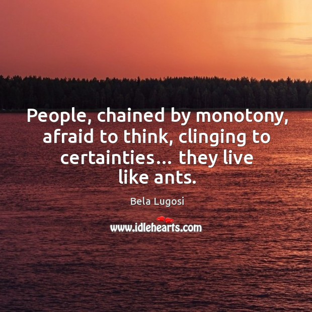 People, chained by monotony, afraid to think, clinging to certainties… they live like ants. Image