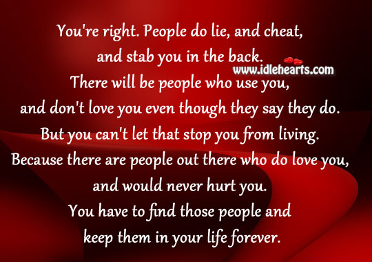 People do lie, and cheat, and stab you in the back. Image