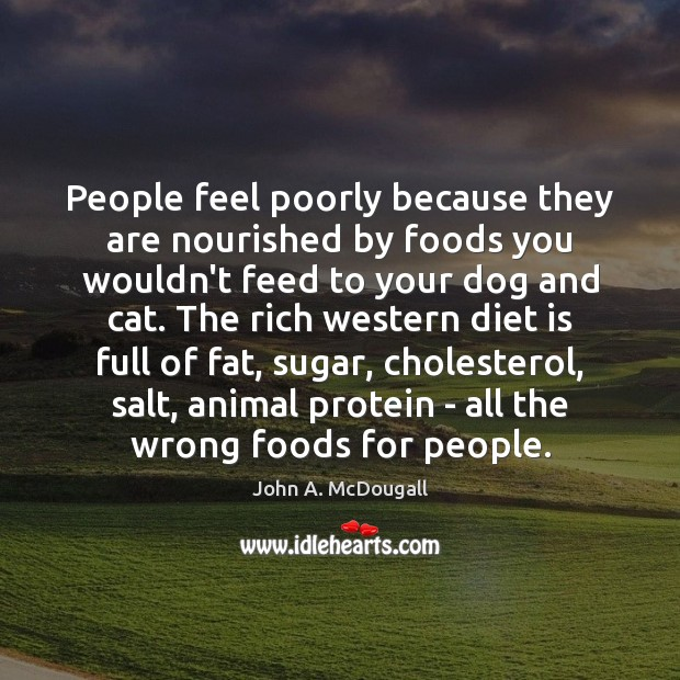 People feel poorly because they are nourished by foods you wouldn't feed Diet Quotes Image