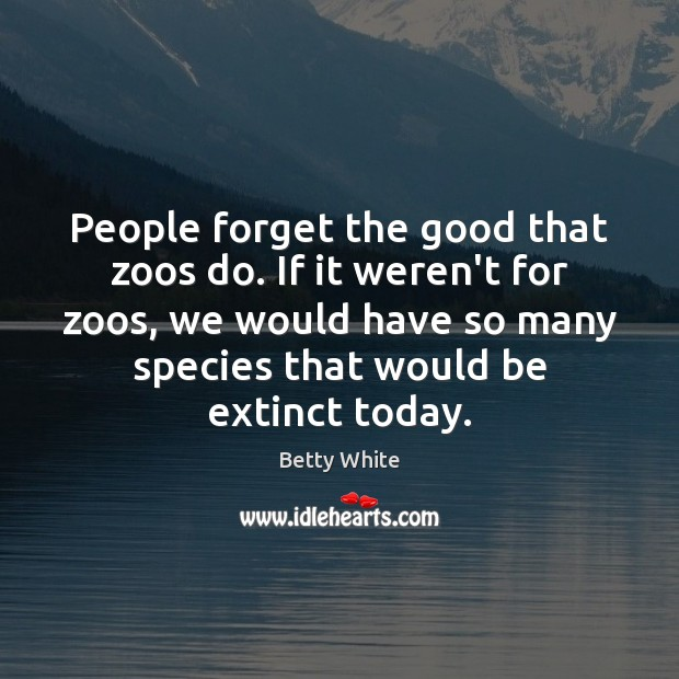 People forget the good that zoos do. If it weren't for zoos, Betty White Picture Quote