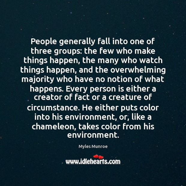 People generally fall into one of three groups: the few who make Myles Munroe Picture Quote