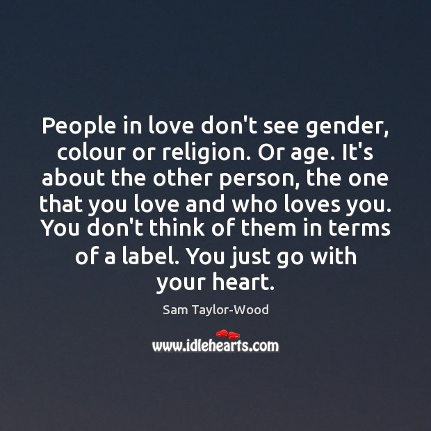 People in love don't see gender, colour or religion. Or age. It's Image