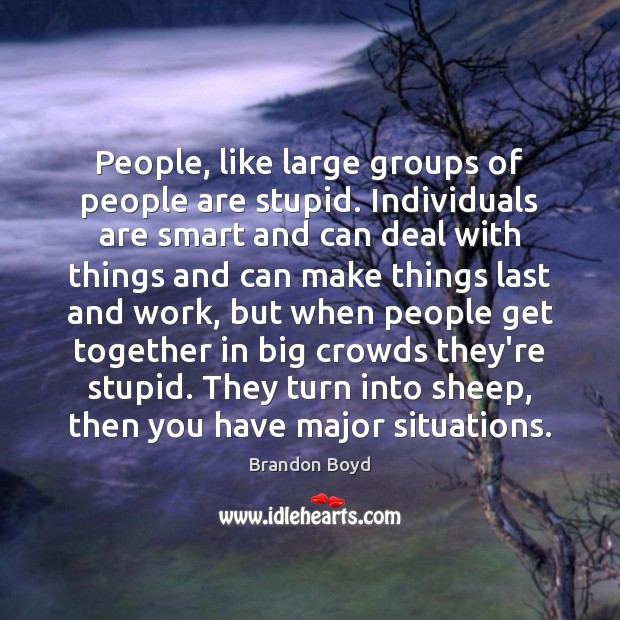 Image, People, like large groups of people are stupid. Individuals are smart and