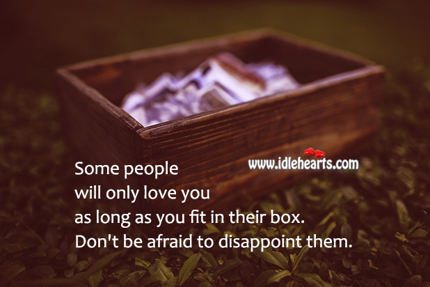 Image, Some people will only love you as long as you fit in their box.