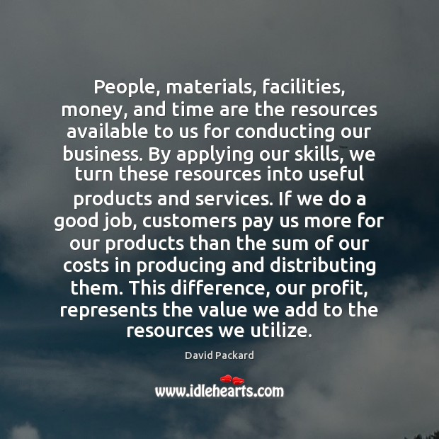 People, materials, facilities, money, and time are the resources available to us Image