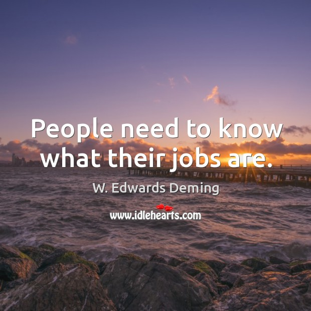 People need to know what their jobs are. W. Edwards Deming Picture Quote