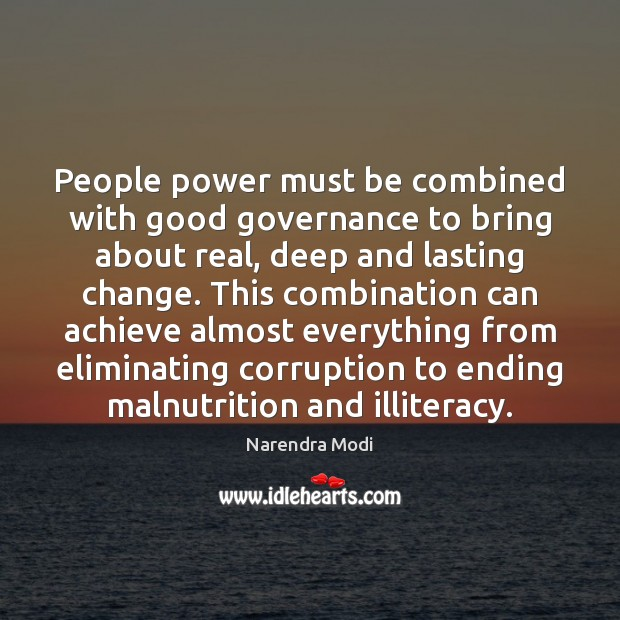 Image, People power must be combined with good governance to bring about real,