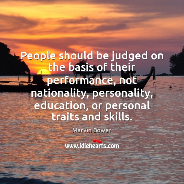 People should be judged on the basis of their performance, not nationality, Image