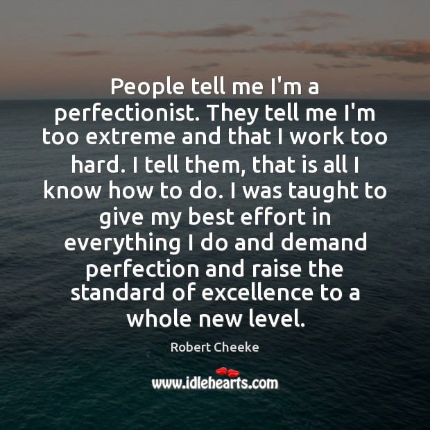 People tell me I'm a perfectionist. They tell me I'm too extreme Image