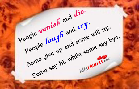 People Vanish And Die…