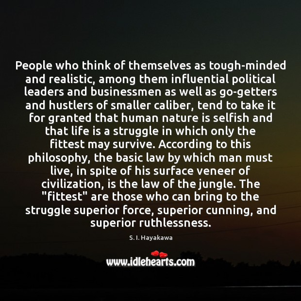 Image, People who think of themselves as tough-minded and realistic, among them influential