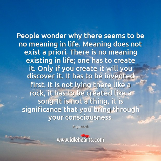 People wonder why there seems to be no meaning in life. Meaning Image
