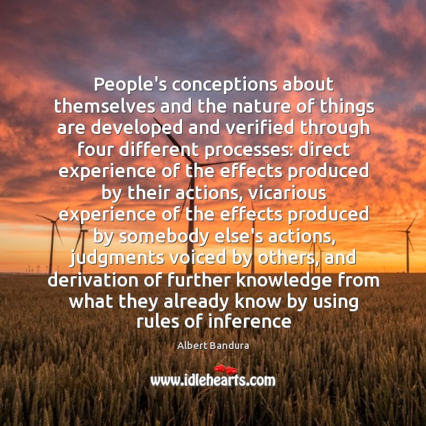 People's conceptions about themselves and the nature of things are developed and Image