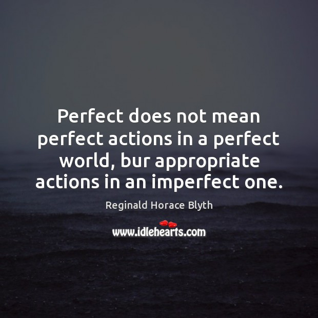 Perfect does not mean perfect actions in a perfect world, bur appropriate Image