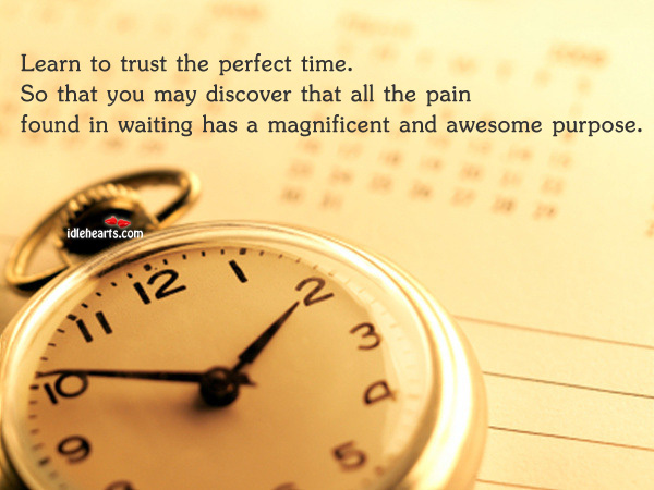 Learn to trust the perfect time…