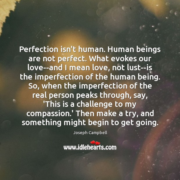 Perfection isn't human. Human beings are not perfect. What evokes our love–and Imperfection Quotes Image